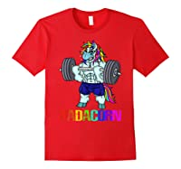 Dadacorn Manly Unicorn Weightlifting Muscle Fathers Day Gift Shirts Red