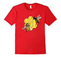 Honeycomb Pattern With Two Bees Drawing Shirts Red