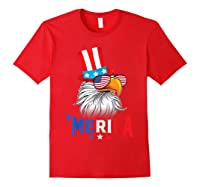 'merica Bald Eagle Sunglasses Flag Uncle Sam 4th Of July Shirts Red