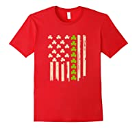 St Patricks Day Irish American Flag Saint Paddys Day T Shirt Red