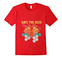 Save The Bees Vintage Retro Beekeeping Beekeeper Gift Shirts Red