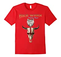 Bike Week Bull Head Skull Motorcycle T Shirt Red