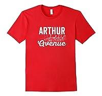 Arthur Avenue New York City Street Sign T Shirt Red