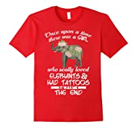 Once Upon A Time There Was A Girl Loved Elephants Art Shirt Red