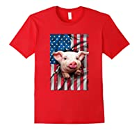 Pig American Flag Gift Funny 4th Of July America Shirts Red