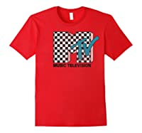 Mtv Checkered Logo Pink Shadow Turquoise Tv Graphic T-shirt Red