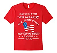 Once Upon A Time Shih Tzu America 4th Of July T Shirt Gift Red