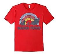 The Lion King Hakuna Matata Distressed Rainbow Logo Shirts Red