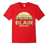 Blair Ne Nebraska Vintage Retro Sunset Tee T Shirt Red