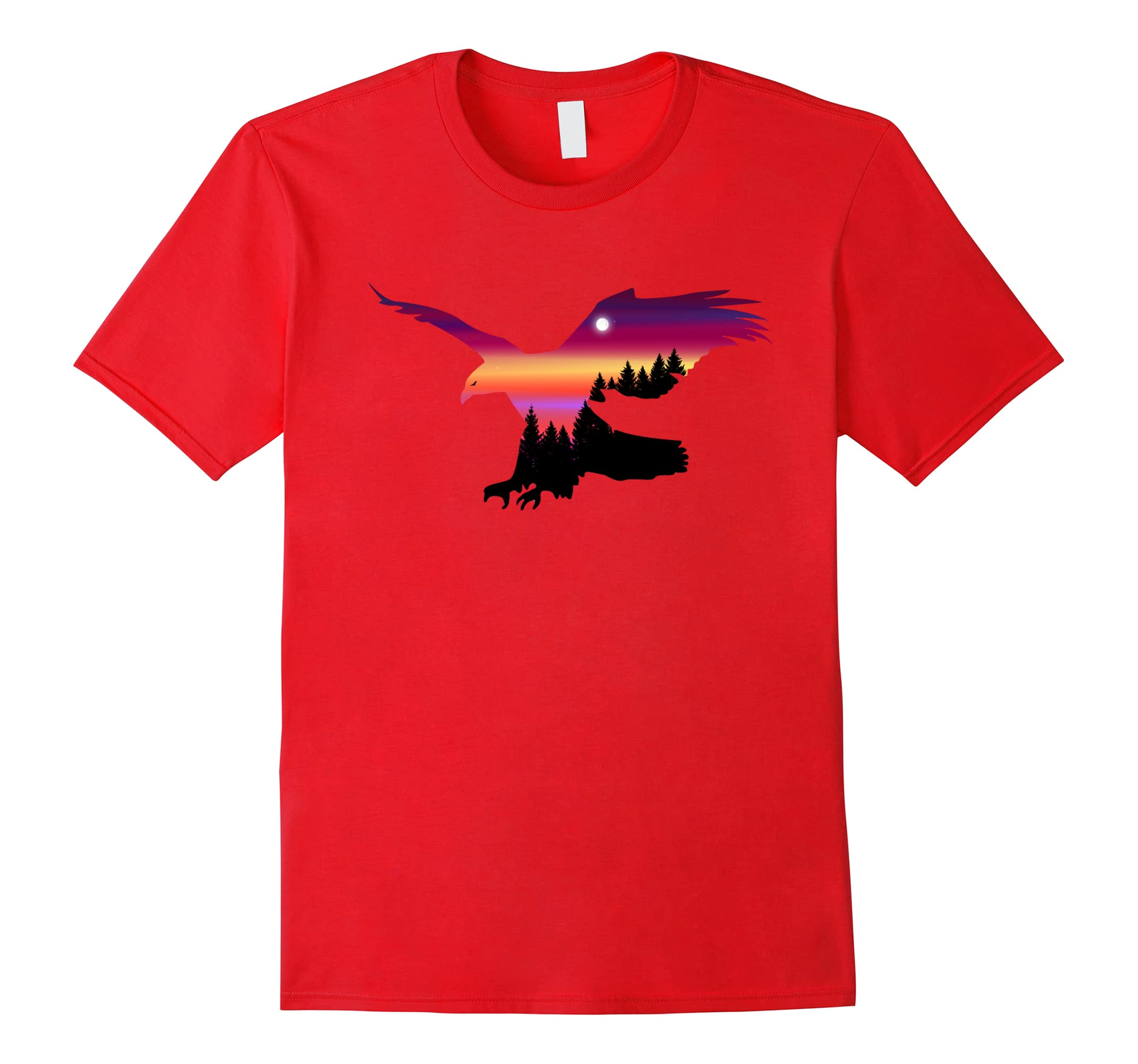 Magnificent Flying Eagle Surreal Sky Silhouette T-Shirt-RT