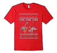Dino Ugly Christmas Sweater Xmas Dinosaur Shirts Red