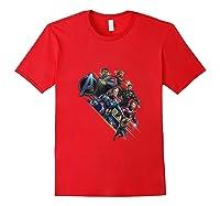 Avengers Endgame Assembled Team Group Shot Logo Shirts Red