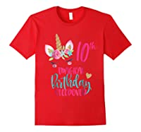 Unicorn 10th Magical Birthday Sleepover Party Girl Shirts Red