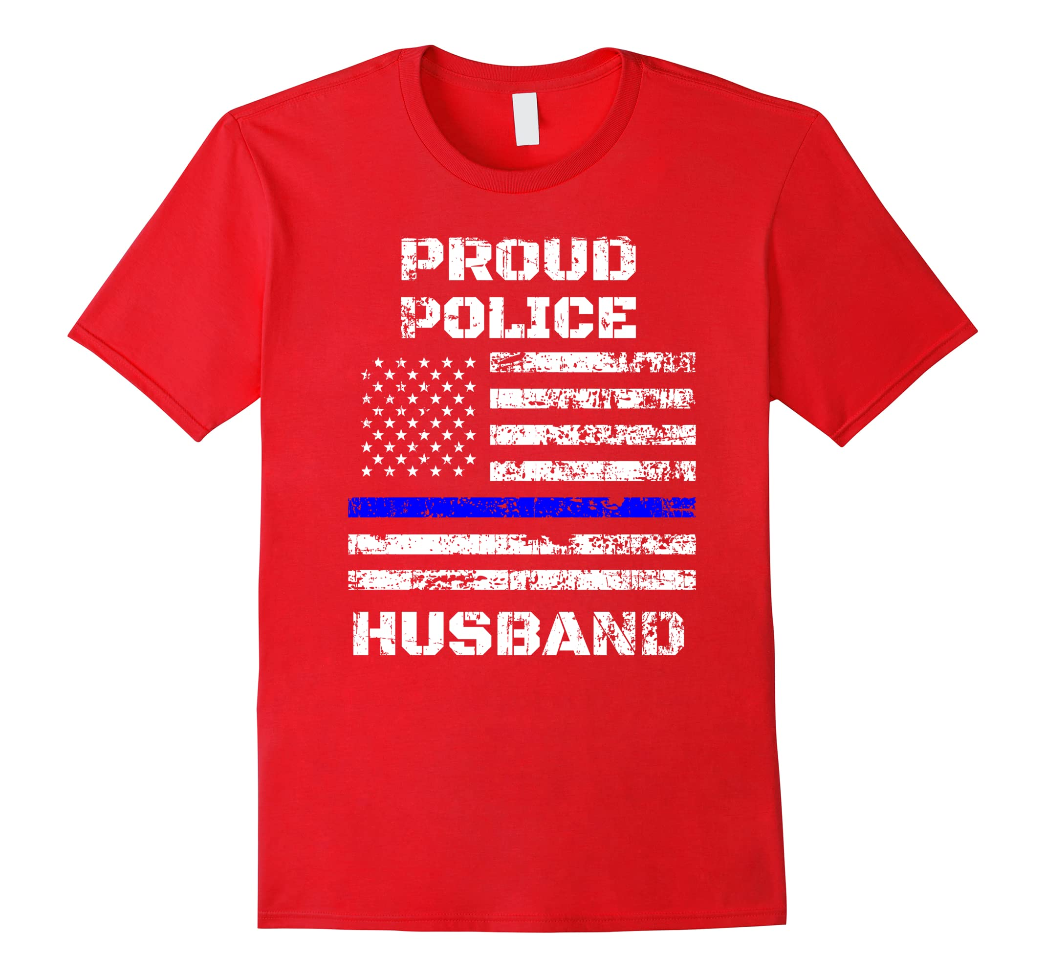 Vintage Proud Police Husband Thin Blue Line USA Flag T-Shirt-RT