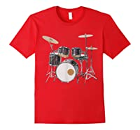 Awesome Drum Set Rock Music Band Shirts Red