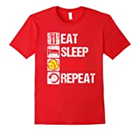 Eat Sleep Pitch Repeat Softball Player Pit Coach Premium T-shirt Red