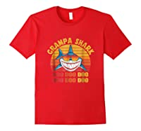 Retro Vintage Style Grampa Shark Gift For Father Dad Shirts Red