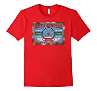 Auto Service Old Stuff Rusty Sign T Shirt Gift For Pickers Red
