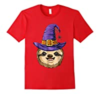 Sloth Witch T Shirt Halloween Girls Funny Costume Red