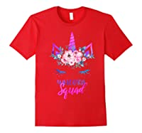 Cute Rainbow Unicorn Squad Unicorn For Party Shirts Red