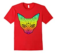 Techno Trance Edm Club Day Of The Dead Cat Sugar Skull Shirts Red