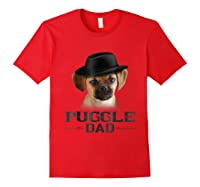 Puggle Dad Funny Father's Day Dog Lovers Gift Shirts Red
