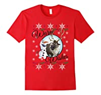 Frozen Olaf Sven Warm Wishes Ugly Sweater Shirts Red