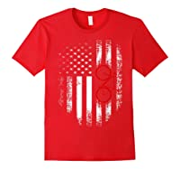 Vintage American Usa Flag Bicycle T-shirt Bicyclist Gift Red