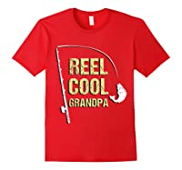 Reel Cool Dad Funny Fishing Fathers Day Gift Shirts Red