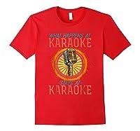 Karaoke Music Gifts Sing Music Bar Singer Vegas Style Mic Shirts Red