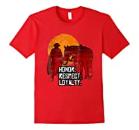 Red Horse Sunset T Shirt Honor Respect Loyalty Cowboy Red