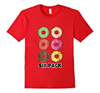 Funny Donut Six Pack Muscle T Shirt Red