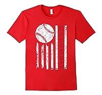 American Flag Baseball | July 4th Usa Flag Patriotic Design T-shirt Red