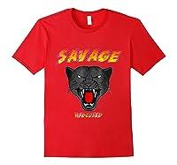 Savage T Shirt Wild Black Panther Focused Red
