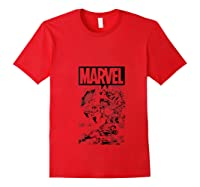 Captain America Black And Comic Panels Logo Shirts Red