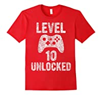 Level 10 Unlocked 10th Video Game Birthday Gift Shirts Red