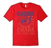 American Flag Daddy Shark Doo Doo Doo 4th Of July Shirts Red