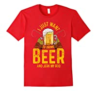 Funny Beer And Fishing Fathers Day Gift Adult Humor Shirts Red
