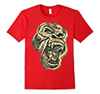 Angry Great Ape Art T-shirt Fierce Silverback Gorilla Face Red