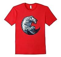 Japanese Art Gift Ocean Wave Line Work Design Shirts Red