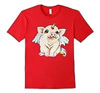 Cute Flying Unicorn Pig, Pigicorn Unipig Tshirt Red