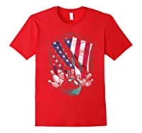 Vintage Bowling T Shirt American Usa Flag Bowling T-shirt Red