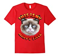 Grumpy Cat This Is My Happy Face Graphic Shirts Red