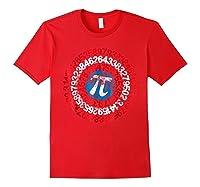 Captain Pi Superhero Shield Funny Math Pi Day Shirts Red