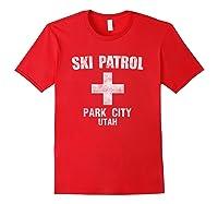 Retro Park City Utah Ski Patrol T Shirt Red