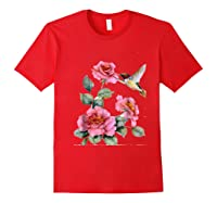Hummingbird With Roses T For Shirts Red