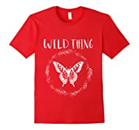Wild Thing Butterfly Floral Wht Shirts Red
