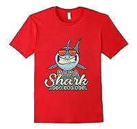 Papa Shark Doo Doo Funny Gift Dads Boss Man Shirts Red