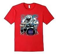 Nasa Space Drum Playing Astronaut Premium Graphic T-shirt Red