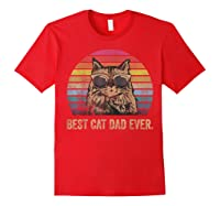 Best Cat Dad Ever Papa Birthday Father's Day Gift Shirts Red